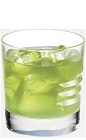 The Apple Kamikaze drink recipe is made from Burnett's sour apple vodka and sweet & sour mix, and served over ice in a rocks glass.