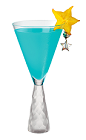 The Azure Sangria is a blue cocktail made from Hpnotiq, white wine and ginger ale, and served in a chilled cocktail glass.