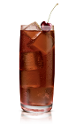 The Bad Romance drink is made from Stoli Salted Karamel vodka and Cherry Coke, and served over ice in a highball glass.