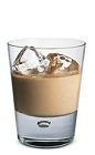 The Bailey's Over Ice is a brown colored drink made from Bailey's Irish cream, and served over ice in a rocks glass.