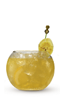 The Banana Nana is an explosion of banana flavor in a small glass. An orange colored drink recipe made from Cruzan banana rum, dark rum and orange juice, and served over ice in a rocks glass.