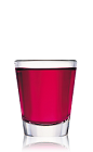 The Bat Bite is a red shot made from Bacardi rum, raspberry liqueur and cranberry juice, and served in a chilled shot glass.