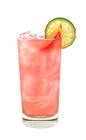 The Beachside Peach is a pink drink made from Smirnoff peach vodka, pineapple juice, cranberry juice, lime juice and ginger ale, and served over ice in a highball glass.