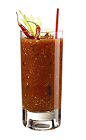 The Bloody Mary is a classic hangover cocktail made from vodka, tomato juice, lemon juice, horseradish, Worcestershire sauce, Tabasco sauce, salt, pepper and celery, and served over ice in a highball glass.