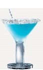 The Blue Bird cocktail recipe is a blue colored drink made from Burnett's coconut rum, Hpnotiq liqueur and lime juice, and served in a coconut-rimmed cocktail glass.
