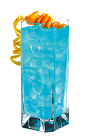 The Blue Breeze is a blue colored drink made from Hpnotiq liqueur, coconut rum, pineapple juice and club soda, and served over ice in a highball glass.