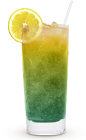 The Blue Latitude is a blue/green/orange colored drink recipe made from Cruzan orange rum, blue curacao, orange juice and lemon-lime soda, and served over ice in a highball glass.