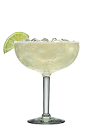 The Blue Moon Margarita cocktail recipe is made from Lunazul reposado tequila, lime juice and Cointreau, and served in a chilled salt-rimmed margarita glass full of crushed ice.