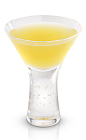 The Broadway cocktail is a stylish yellow drink made from New Amsterdam gin, yellow tomato, basil, lemon and triple sec, and served in a chilled cocktail glass.