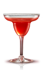 The Campari Margarita is a red cocktail made from Campari, lime juice and Grand Marnier, and served in a sugar-rimmed margarita glass.