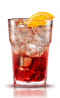 The Campari Tonic is an aperitif red drink made from Campari, tonic water and orange, and served over ice in a highball glass.
