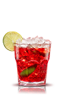 The Camparinha is an Italian variation of the classic Brazilian Caipirinha cocktail. A red drink made from Campari, lime and cane sugar, and served over ice in a rocks glass.