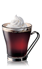 The Caribbean Coffee is a black drink made from Bacardi golden rum, hot coffee and whipped cream, and served in a coffee glass.