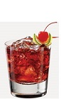 The Cherry Cola Splash drink recipe is made from Burnett's cherry cola vodka, lemon-lime soda and grenadine, and served over ice in a rocks glass.