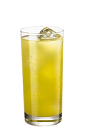The Citrus Dream is a yellow drink made from Smirnoff citrus vodka and pineapple juice, and served over ice in a highball glass.