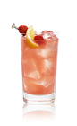 The Classic Daiquiri is a pink drink made from Bacardi rum and strawberry daiquiri mix, and served over ice in a highball glass.