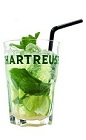 The Chartreuseito is an exotic version of the classic Mojito drink. A green drink made from Green Chartreuse, lime, mint and club soda, and served over ice in a highball glass.
