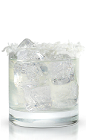 The Coconut Cove is a chilling clear colored cocktail made from New Amsterdam coconut vodka, coconut water, lychee juice, coconut cream and coconut flakes, and served over ice in a rocks glass.