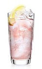 The Cranberry Lemonade drink is a pink colored cocktail made from Malibu coconut rum, cranberry juice and lemon-lime soda, and served over ice in a highball glass.