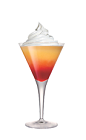 The Creamy Sunset is a red cocktail made from Smirnoff Whipped Cream vodka, sour mix, pineapple juice, grenadine and whipped cream, and served in a chilled cocktail glass.
