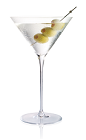 The Dirty Gold Martini is made from Stoli Gold vodka and olive juice, and served in a chilled cocktail glass garnished with olives.