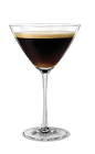 The Espresso Martini cocktail is made from Kahlua coffee liqueur, vodka and freshly brewed espresso, and served in a chilled cocktail glass.