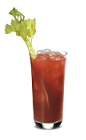 The Fiery Bloody Mary is a red drink made from SoCo Fiery Pepper, Bloody Mary mix and lime, and served over ice in a highball glass.