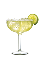 The Fiery Pepper Margarita is made from SoCo Fiery Pepper, margarita mix, salt and lime, and served in a margarita glass.