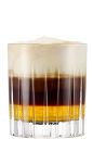 The Galliano Hotshot is a layered shot made from Galliano Vanilla liqueur, hot espresso and whipped cream, and served in a chilled shot glass.
