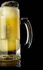 The Ginger Brewsky drink recipe is made from Monkey Shoulder scotch, ginger syrup, lemon juice and beer, and served in a chilled beer mug.