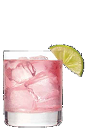 The Grapehound cocktail recipe is a pink colored drink made from Three Olives grape vodka, grapefruit juice and grenadine, and served over ice in a rocks glass.