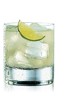 The Hand Shaken Daiquiri is made from Bacardi rum, lime juice and simple syrup, and served over ice in a rocks glass.