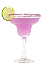 The Harmonie Margarita is a purple cocktail made from Hpnotiq Harmonie, silver tequila, triple sec and lime juice, and served in a sugar-rimmed margarita glass.