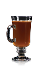 The Hot Buttered Rum drink recipe is made from dark rum, brown sugar, butter, boiling water and nutmeg, and served in a warmed coffee mug or an Irish coffee glass.