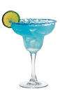 The Hpno-Rita is a blue colored margarita made from Hpnoqit liqueur, tequila and lime juice, and served in a sugar-rimmed margarita glass.