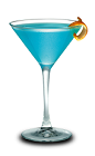 The Hpno-tini is a blue colored cocktail made from Hpnotiq liqueur, vodka and lemon juice, and served in a chilled cocktail glass.