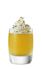 The Iced Birthday Cake is an orange colored shot made from Smirnoff Iced Cake vodka, hazelnut liqueur, pineapple juice and whipped cream, and served in a chilled shot glass.