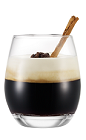The Italian Coffee drink is made from Galliano Vanilla liqueur, hot coffee and whipped cream, and served in a coffee mug garnished with chocolate shavings.
