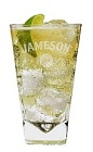 The Jameson Lemonade is a light and fruity Saint Patrick's Day drink made from Jameson Irish whiskey, lemonade and lime, and served over ice in a highball glass.