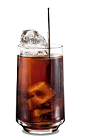 The Kahlua and Coke drink is made from Kahlua coffee liqueur and Coca-Cola, and served over ice in a highball glass.