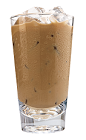The Kahlua Iced coffee is made from Kahlua coffee liqueur, iced coffee and cream, and served in a highball glass.