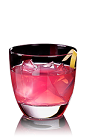 The L.A.X cocktail recipe is a pink colored drink made from X-Rated Fusion liqueur and SKYY vodka, and served over ice in a rocks glass.