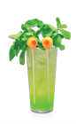 The Limon-stro is a monstrously scary drink recipe perfect for a Halloween party. A green colored concoction made from Don Q Limon rum, pineapple juice, melon liqueur, club soda, mint and olives, and served over ice in a highball glass.