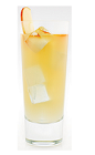 The Bullfisher drink recipe is made from Malibu coconut rum, apple juice and ginger ale, and served over ice in a highball glass garnished with apple slices.