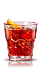 The Negroni is a classic drink made from Campari, gin and sweet vermouth, and served with an orange slice over ice in a rocks glass.