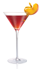 The Peach Diva cocktail is made from Stoli Peachik peach vodka, red sweet vermouth and maraschino liqueur, and served in a chilled cocktail glass.