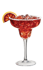 The Pomegranate Margarita drink recipe is a red colored cocktail made from Lunazul reposado tequila, PAMA pomegranate liqueur, triple sec, lime juice and simple syrup, and served in a chilled salt-rimmed margarita glass.