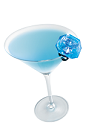 The Put a Rings on It is a blue colored cocktail made from Hpnotiq, whipped cream vodka, peach schnapps and lemon-lime soda, and served in a chilled cocktail glass.