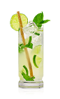 The Q Mojito is a refreshing way to enjoy the old standard Mojito. Made from Don Q rum, mint, lime, sugar and club soda, and served over ice in a highball glass.