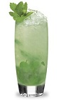 The Sour Apple Mojito is a green drink made from sour apple schnapps, rum, simple syrup, lime juice, mint and club soda, and served over ice in a highball glass.